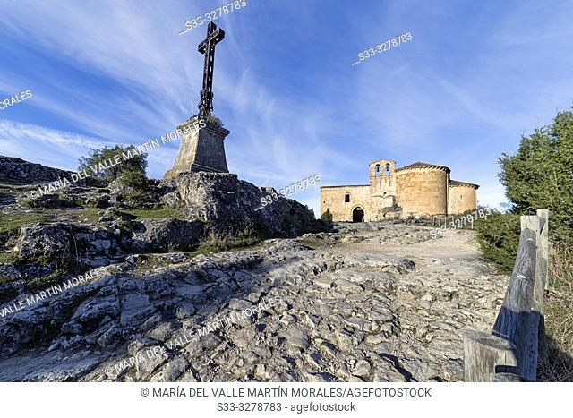 St. Frutos hermitage ruins at Duraton river gorge on a sunny day. Segovia. Spain. Europe