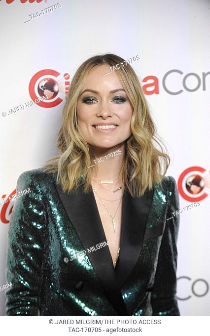 Actress and director Olivia Wilde arrives for the 2019 CinemaCon Big Screen Achievement Awards at Omia nightclub at Caesars Palace in Las Vegas on April 4, 2019
