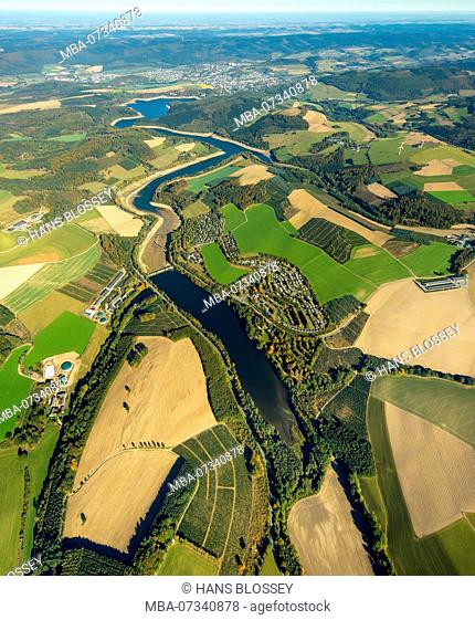 Aerial view, holiday village Knaus Camping, Overview of the Hennesee, Hennesee, low water, lack of water, Meschede (Sauerland), Sauerland