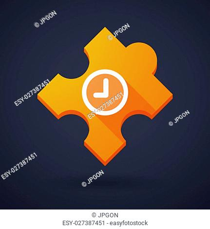 Illustration of a puzzle piece icon with a clock