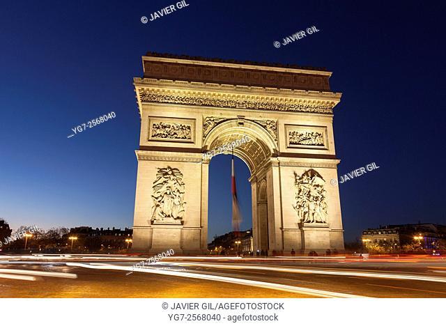 Arc de Triomphe in the Charles de Gaulle square, Paris, Ile-de-France, France