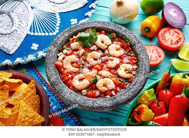 Ceviche de Camaron shrimp in molcajete from Mexico