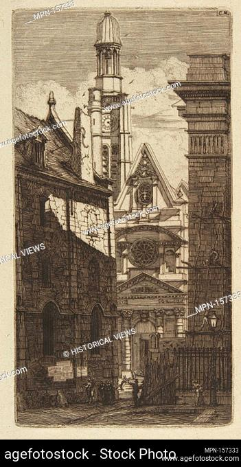 The Church of St. Etienne-du-Mont, Paris. Series/Portfolio: Etchings of Paris; Artist: Charles Meryon (French, 1821-1868); Date: 1852; Medium: Etching and...