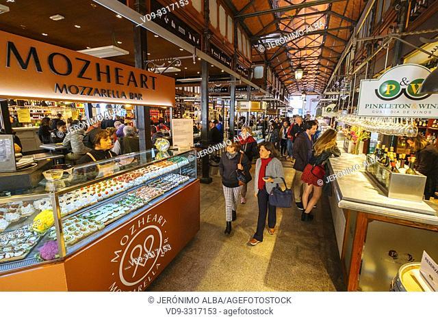 Mercado de San Miguel. Typical gastronomic market specialized in tapas. Madrid city, Spain. Europe