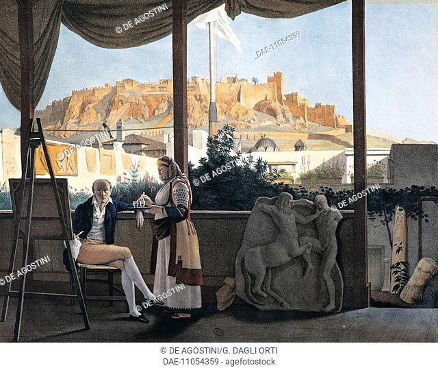 The Acropolis of Athens seen from the house of the French consul Louis-Francois-Sebastien Fauvel, 1819, painting by Louis Dupre (1789-1837)