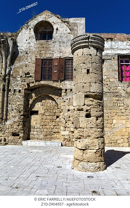 """The remains of """"""""Panagia tou Bourgou"""""""" (""""""""Our Lady of the Burgh"""""""") church in the Medieval town of Rhodes island, Greece"""