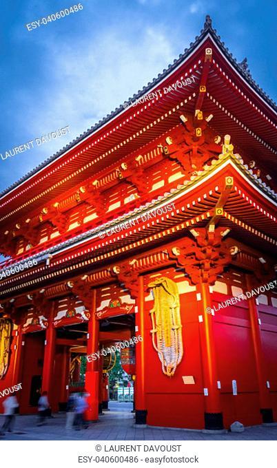 Kaminarimon gate and Lantern at night, Senso-ji temple, Tokyo, Japan