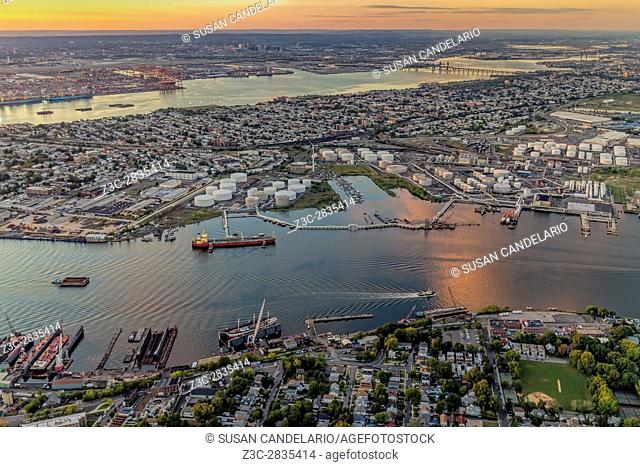 Aerial View Port Of NY And NJ - Aerial view the New York / New Jersey Harbor and the industrial section of Bayonne, New Jersey