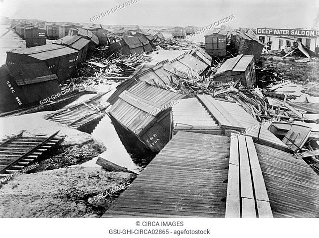 Hurricane Destruction, Galveston, Texas, USA, Bain News Service, September 1900