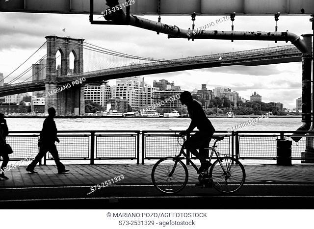 Brooklyn Bridge and pedestrians, Manhattan, Down Town, New York City, New York, United States
