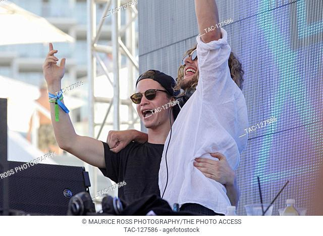 Guest DJ Kygo (left) on stage with Thomas Jack spinning at the Sirius XM Music Lounge on March 16, 2016 at the 1Hotel South Beach at the Private Beach Club in...
