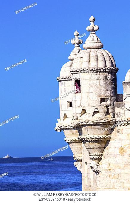 Tagus River Atlantic Ocean Towers Belem Tower Torre de Belem Portuguese Symbol of Exploration Lighthouse, Lisbon Portugal
