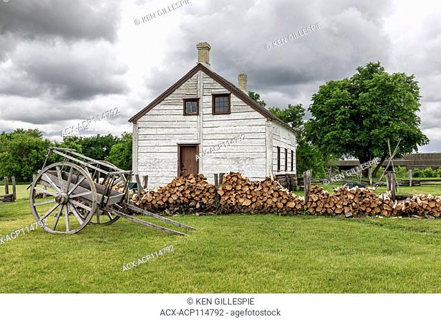 Red River cart and farm managers house, Lower Fort Garry National Historic Site, Manitoba, Canada