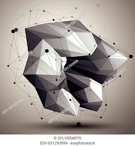 Asymmetric 3D abstract object with connected lines and dots, geometric form with lattice structure