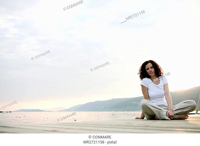 woman, confident, beauty, lakeside, portrait, fema