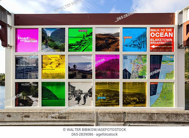 New Zealand, South Island, West Coast, Greymouth, Floodwall Walk display board