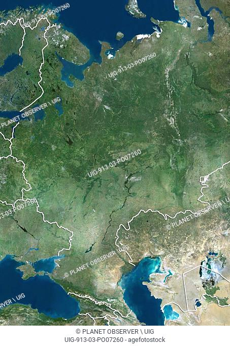 Satellite view of Central Russia (with country boundaries). This image was compiled from data acquired by Landsat satellites