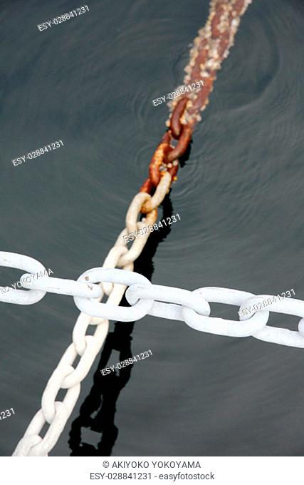 Close up of industrial iron chain