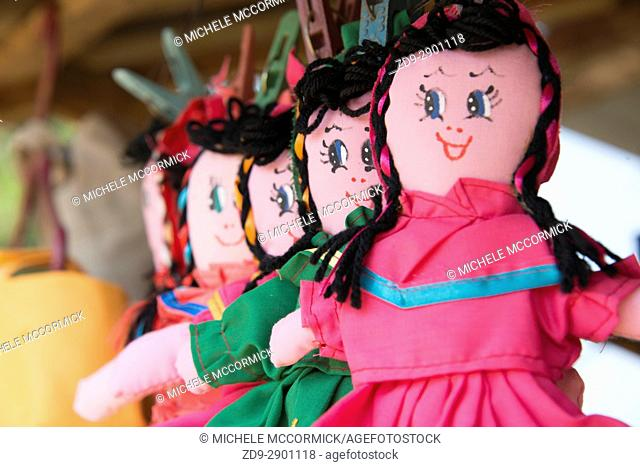 Cloth dolls for sale to tourists in Roatan