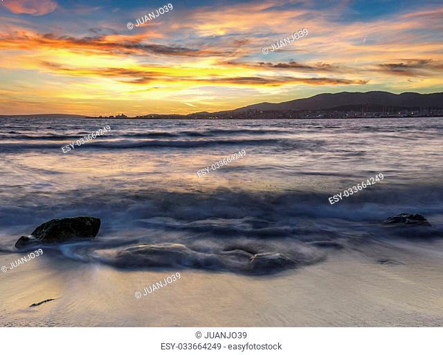 summer sunset in majorca beach, spain
