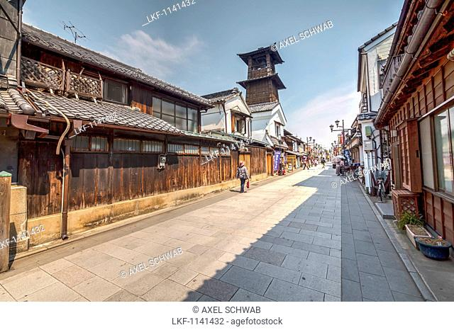 Old wooden clock tower and Kurazukuri in Kawagoe, Saitama Prefecture, Japan