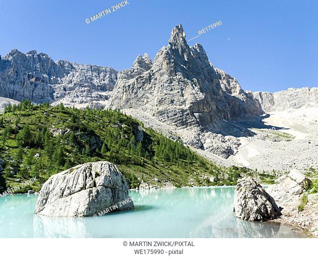 Ponta de Sorapis seen from Lago del Sorapis in the dolomites of the Veneto. These Dolomites are part of the UNESCO world heritage