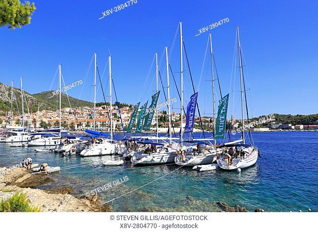 Fleet of chartered sailing boats moored in Hvar Town, Croatia, Dalmatia, Dalmatian Coast, Europe