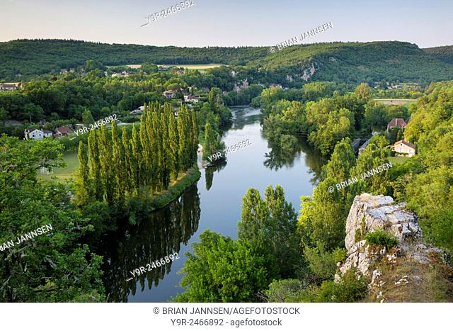 Evening view over River Lot from Saint-Cirq-Lapopie, Vallee du Lot, Midi-Pyrenees, France