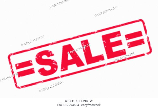 stamp sale with red text on white