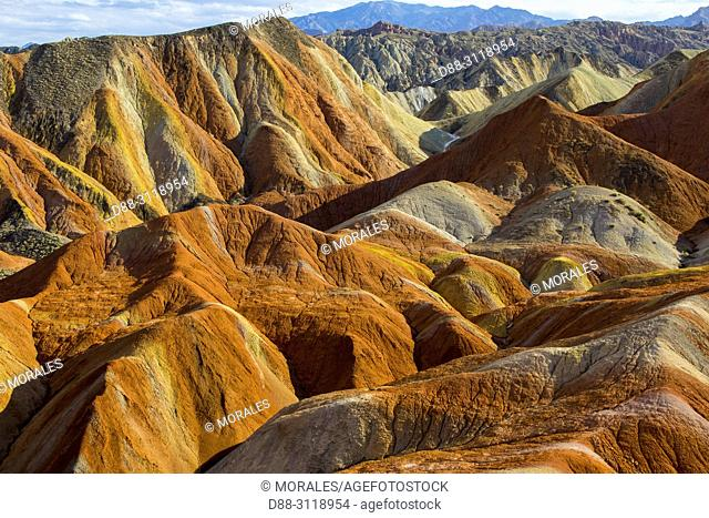 Eroded hills of sedimentary conglomerate and sandstone, . Unesco World Heritage, Zhangye, China