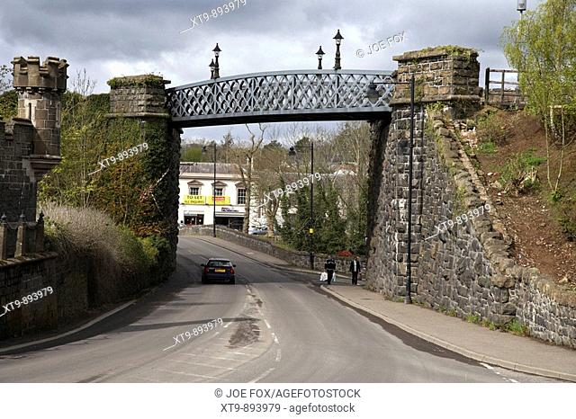 former railway bridge and viaduct over the main road into randalstown county antrim northern ireland uk