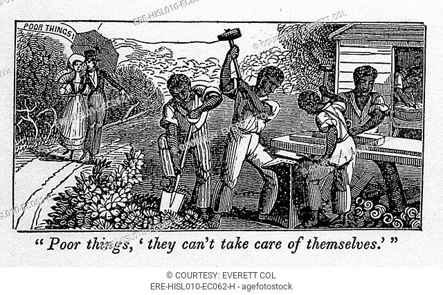 Abolitionist cartoon satirizing slave holders racist justifications for enslavement of blacks. A white couple passing a group of slave laborers says