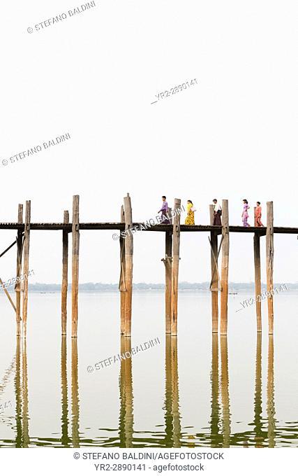 U Bein bridge, Amarapura's Taungmyo lake, Mandalay region, Myanmar
