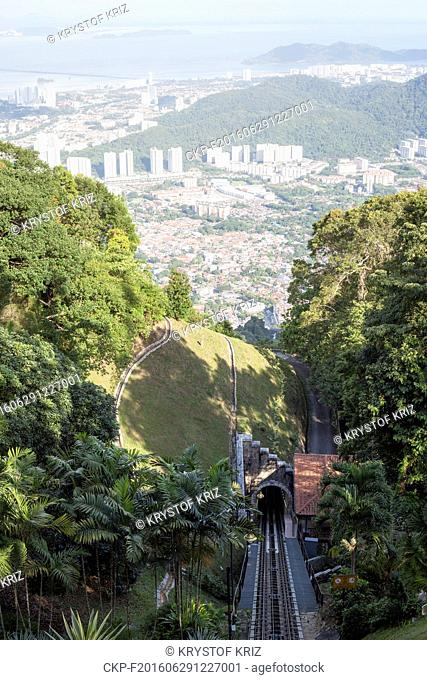 Penang Hill, view, Penang Island, George Town, Malaysia on June 15, 2016. Penang Hill Railway starts in Air Itam, railway was first open in 1923