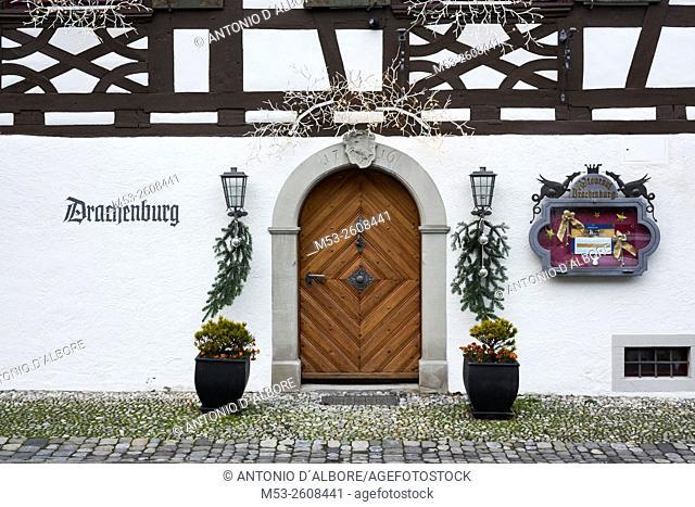 Exterior of a medieval age restaurant with Christmas decoration. Gottlieben Municipality. Kreuzlingen District. Thurgau Canton. Switzerland
