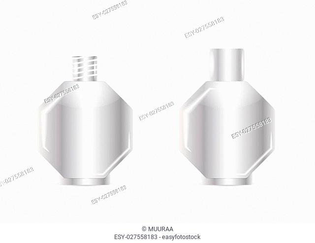 open and closed clean blank silver bottle, isolated