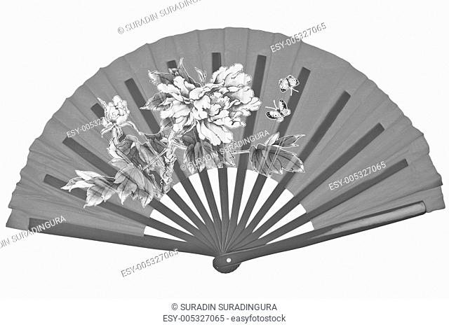 Black and white oriental chinese fan isolated on white backgroun
