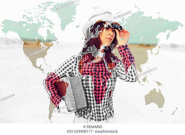 Double exposure map of the world combined with image of traveler woman. Concept of travel
