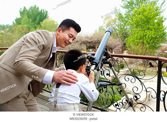 The father and son used an astronomical telescope on the terrace