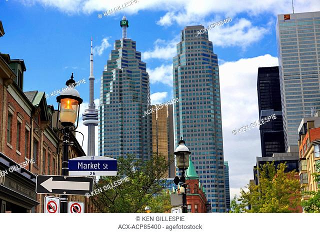 Market Street District in Old Toronto with downtown skyscrapers, Toronto, Ontario, Canada