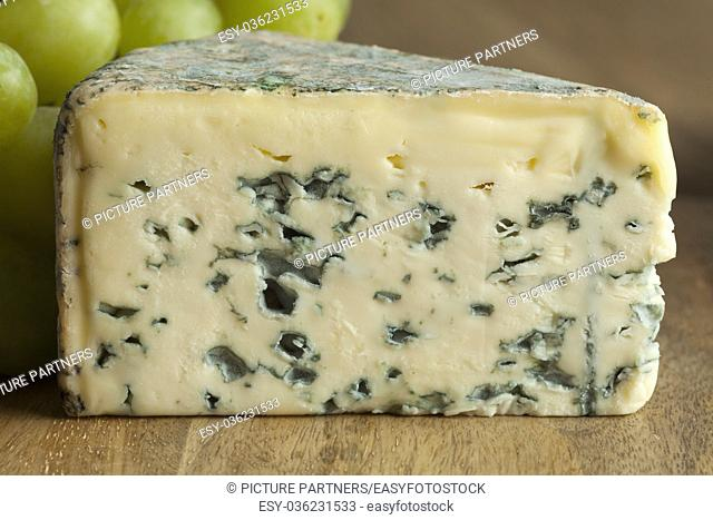 Piece of French Bleu d'auvergne cheese close up
