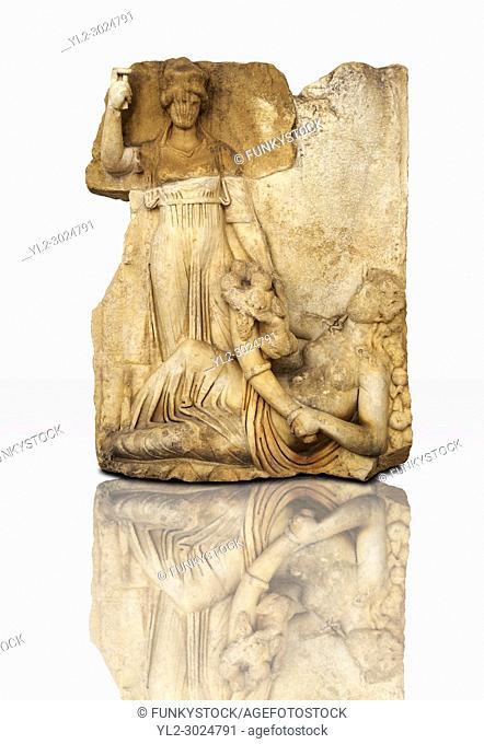 Roman temple releif sculpture of Roma, Aphrodisias Museum, Aphrodisias, Turkey
