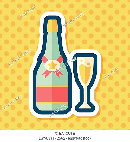 Valentine's day champagne flat icon with long shadow,eps10