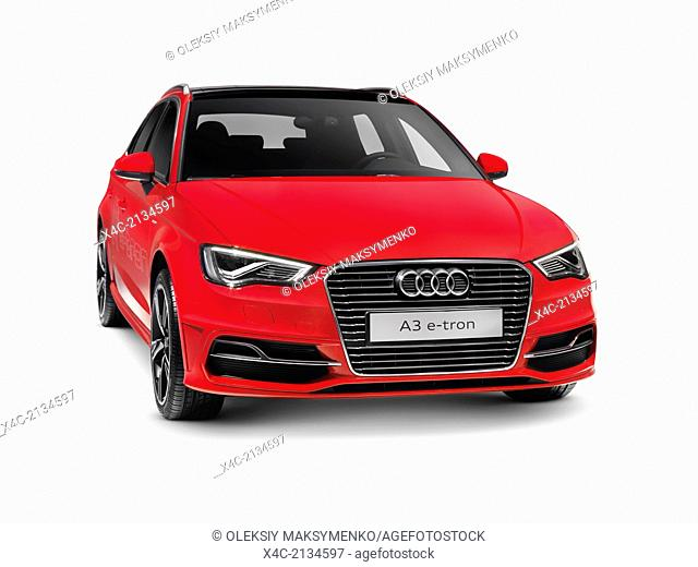 Red 2015 Audi A3 Sportback e-tron plug-in hybrid car. Isolated on white background with clipping path