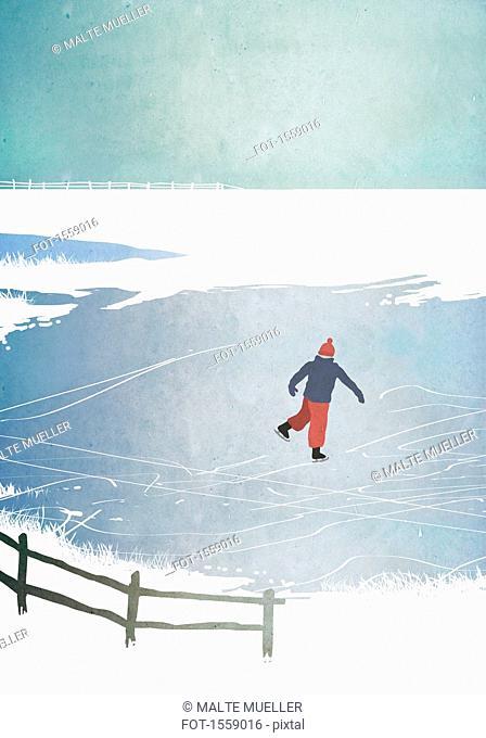 Illustration of man ice skating on frozen lake