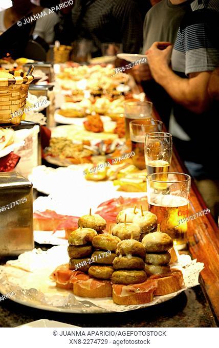 "Mushrooms with Cheese and Ham """"Pintxos"""" in San Sebastian (Donostia) Guipuzkoa, Basque Country, Euskadi, Spain, Europe"