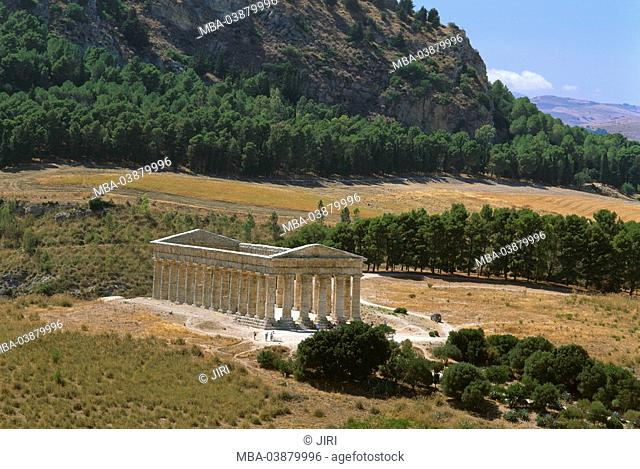 Italy, island, Sicily, island Sicily, Segesta temple-ruin destination sight, landmark, culture, antique, temples, ruin, fragments, dorisch, columns, column-hall