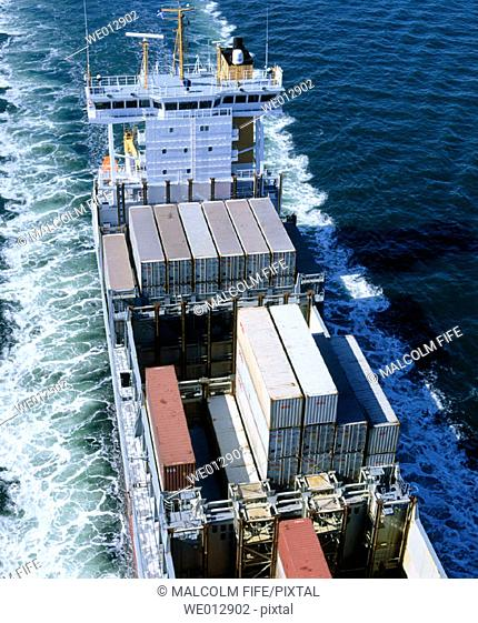Containers on containership. Firth of Clyde, Scotland