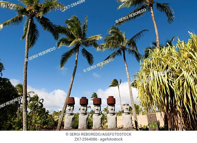 Rapa Nui Moai. Stone statues. Polynesian Cultural Center. O'ahu. Hawaii. The Polynesian Cultural Center PCC is a Polynesian-themed theme park and living museum...