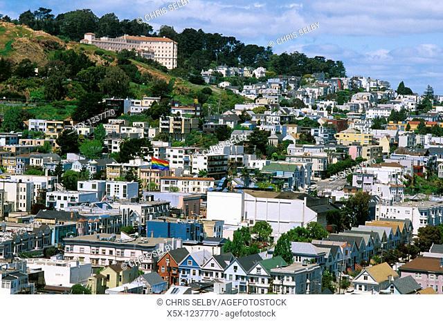 Rainbow flag over Castro district, San Francisco